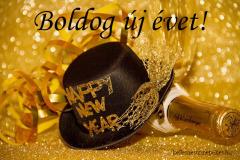 boldog új évet pezsgő kalap