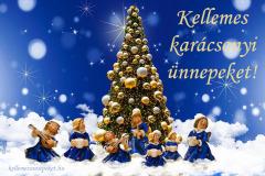 kellemes karácsonyi ünnepeket fenyő angyal