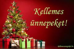 kellemes ünnepeket ajándék fenyőfa