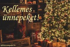 kellemes ünnepeket karácsonyfa, kandalló