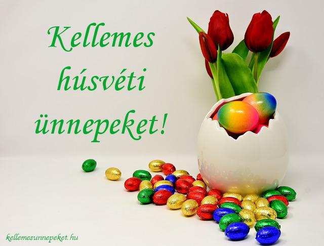 kellemes húsvéti ünnepeket csokitojás, virág