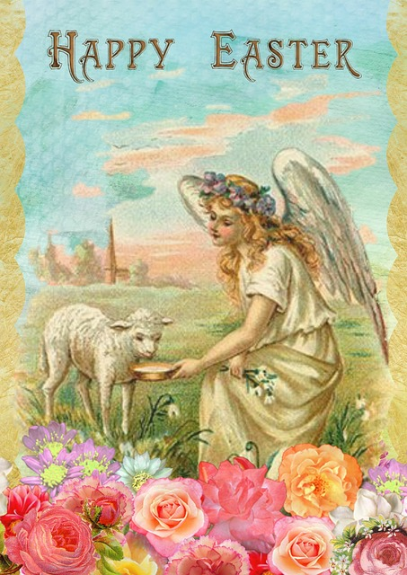 vintage húsvéti kép angyal