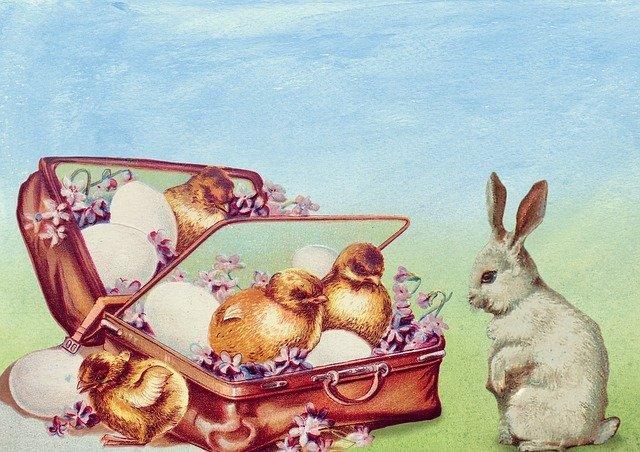 vintage húsvéti képek nyuszi csibe