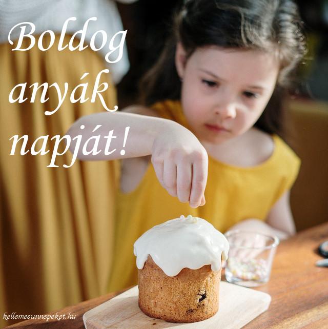 boldog anyák napját, kislány süti