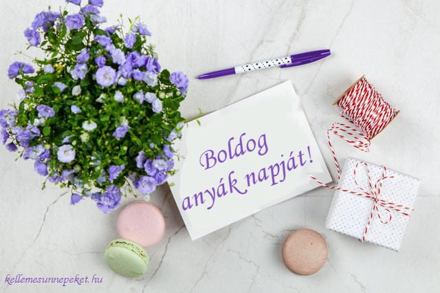 boldog anyák napját, lila virág, macaron